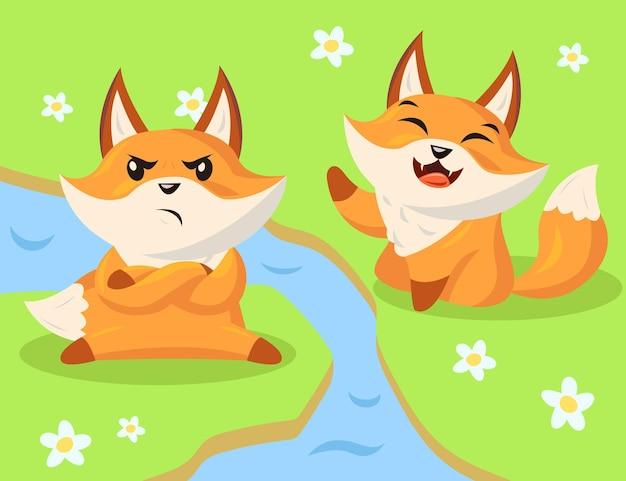 Personnages de renard de dessin animé en colère et heureux
