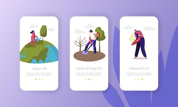 Les personnages sauvent le modèle d'écran intégré de la page de l'application mobile earth planet