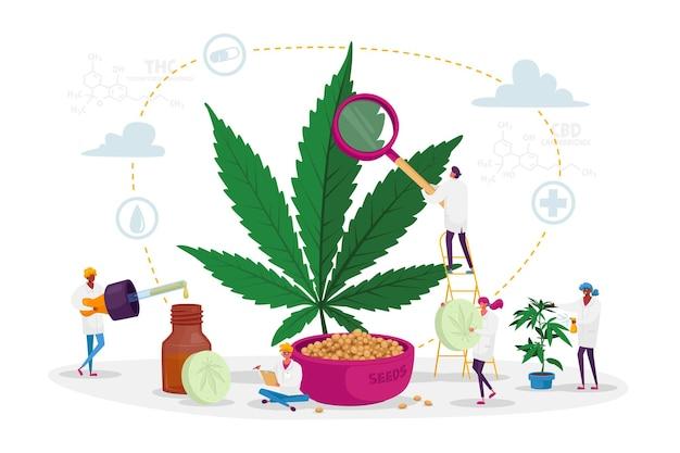 Personnages scientifiques cultivant du cannabis médical et préparant la médecine homéopathique de la marijuana