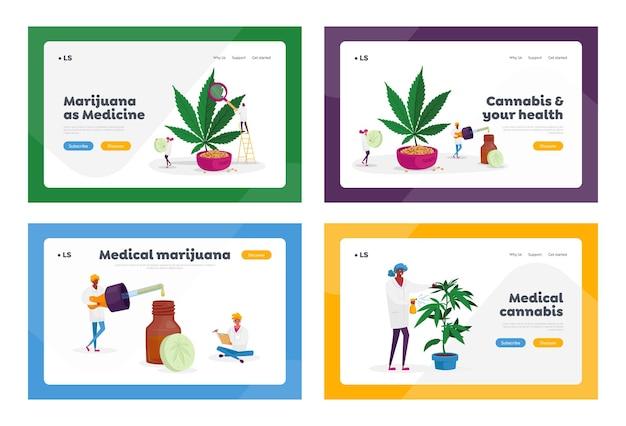 Des personnages scientifiques cultivent du cannabis médical en préparant une recette de cannabis homéopathique