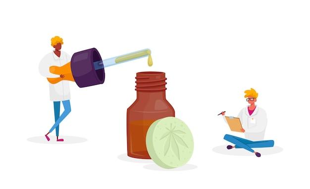 Des personnages scientifiques ou pharmaciens produisent de l'huile et des pilules de cannabis médical