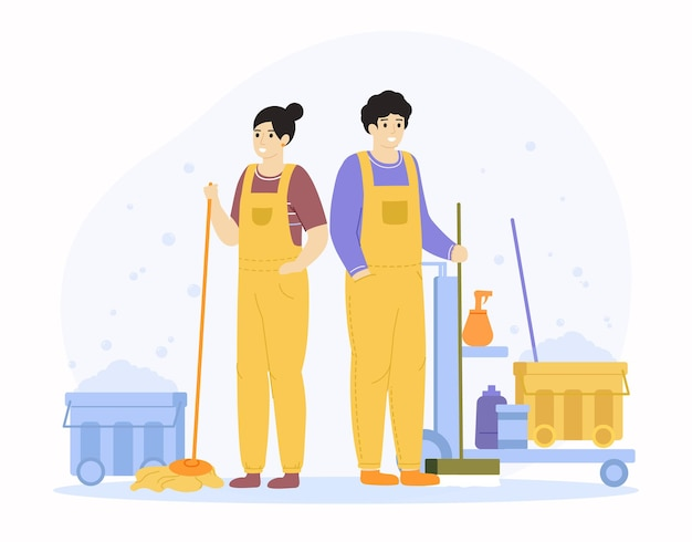 Personnages de service de nettoyage. travailleurs professionnels de nettoyage, personnel d'entretien ménager