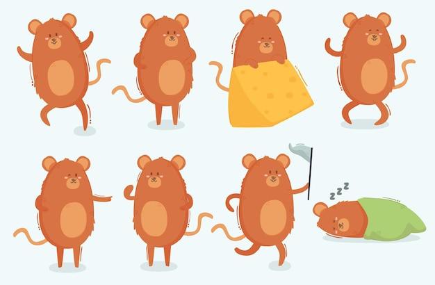 Personnages de souris différentes poses