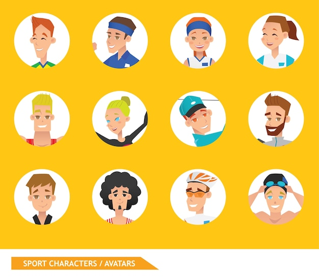 Personnages sportifs avatars