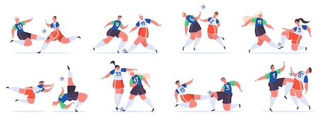 Les personnages sportifs de football luttent