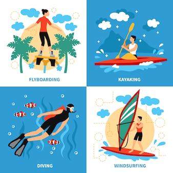 Personnages de sports nautiques
