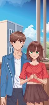 Personnages de style hentai jeune couple
