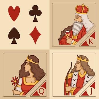 Personnages stylisés de jeux de cartes