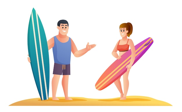 Personnages surfeurs masculins et féminins