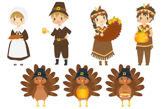 Personnages de thanksgiving mignons et dindes collection de vecteur.