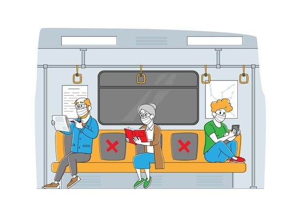 Personnages en train de métro pendant la pandémie de covid