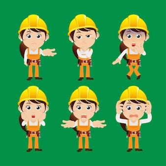 Personnages de travailleurs dans différentes émotions