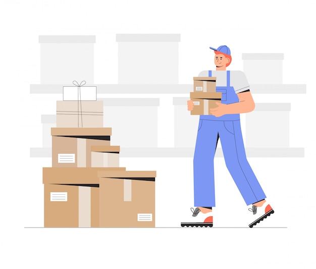 Personnages de travailleurs d'entrepôt déchargeant des boîtes.