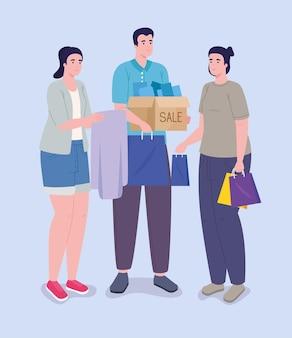 Personnages de trois acheteurs