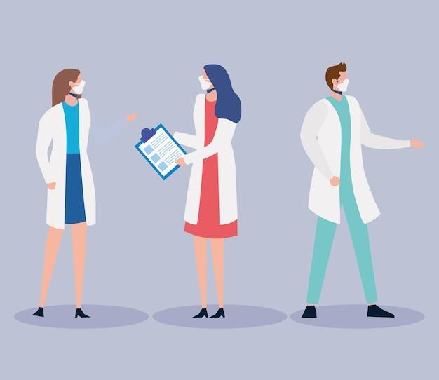 Personnages de trois médecins