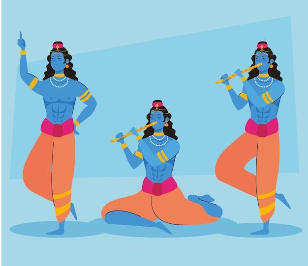 Personnages de trois seigneurs krishna