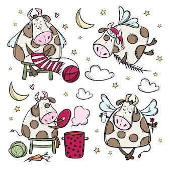 Personnages de vache du nouvel an