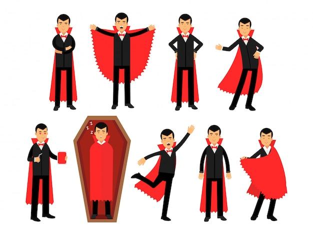 Personnages vampires posant dans différentes situations, comte dracula portant un costume noir et une cape rouge illustrations
