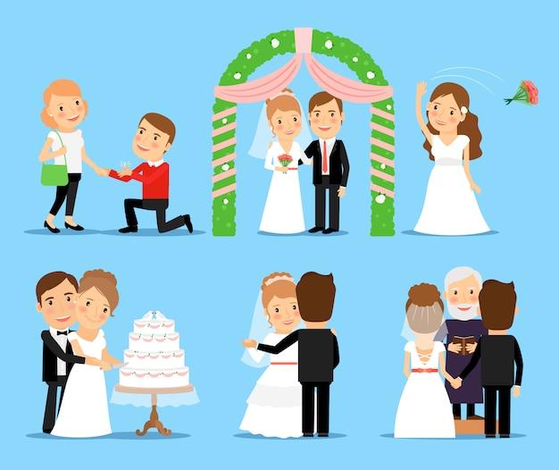 Personnages de vecteur de fête de mariage