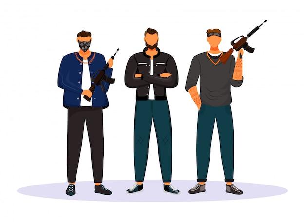 Personnages de vecteur plat gang criminel
