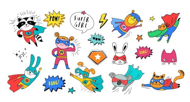 Personnages de vecteur de super-héros mignons animaux dessinés à la main