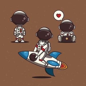 Personnages vectoriels d'astronautes définis dans un style de dessin animé vecteur premium