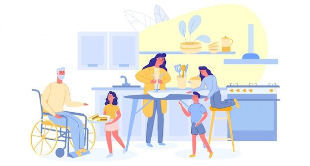 , personnages visitant le grand-père et le dîner de maman cuisinier