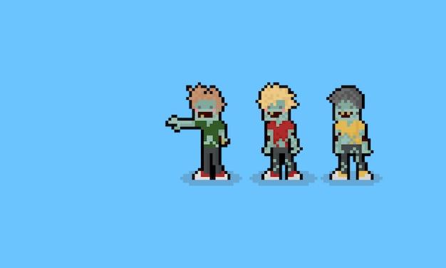 Personnages de zombie de dessin animé de pixel art