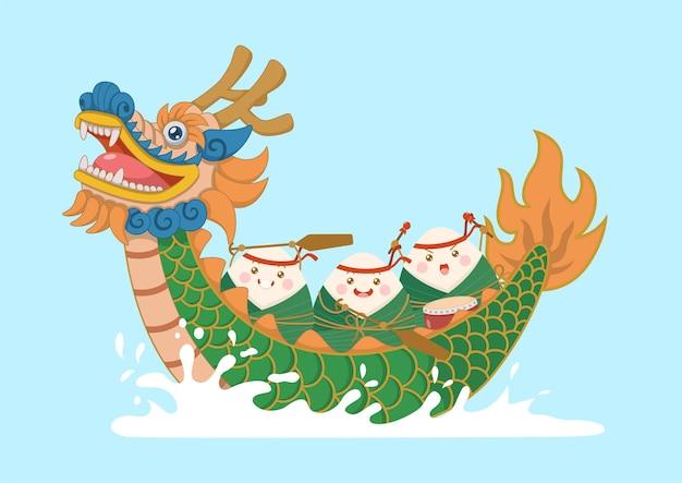 Personnages zongzi de riz gluant chinois mignons et kawaii chevauchant un bateau-dragon