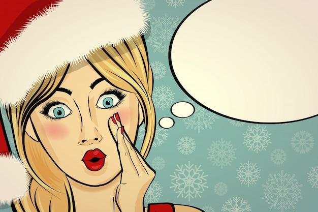 Personnalisable belle carte de noël rétro avec pin-up sexy santa girl.