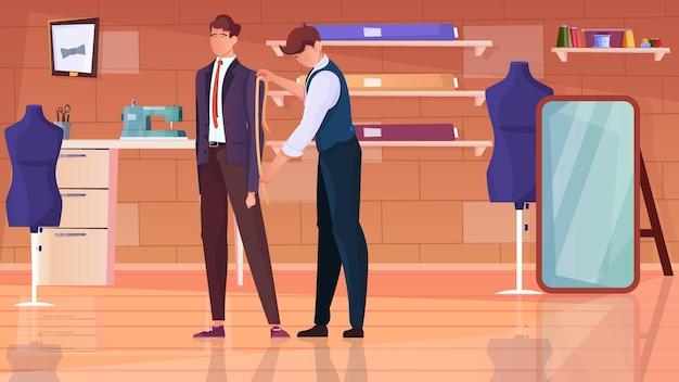 Personnalisation de l'illustration plate de l'atelier avec un tailleur professionnel prenant des mesures du client