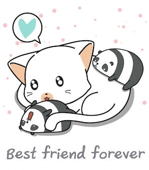 Personnalités du panda et du chat géant kawaii