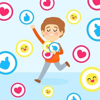 Une personne accro aux réseaux sociaux illustrée