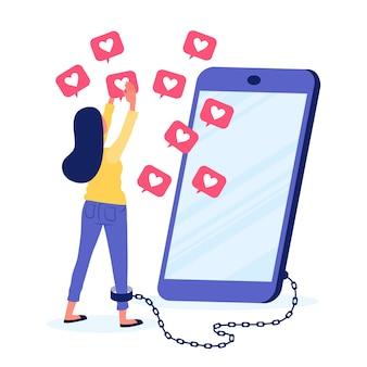 Une personne accro aux réseaux sociaux