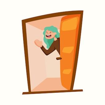 La personne accueille. l'homme ouvre la porte. illustration vectorielle dans un style plat