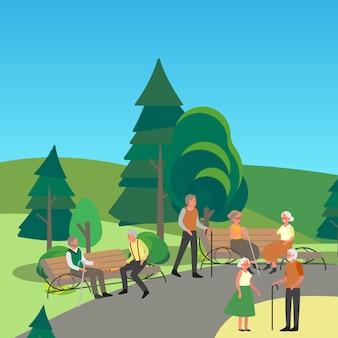 Personne âgée marchant dans le parc. des personnes âgées assises ensemble sur le banc. senior homme et femme dans le parc.