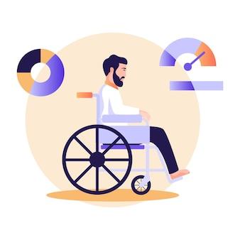 Personne assise sur un fauteuil roulant illustration plate du handicap