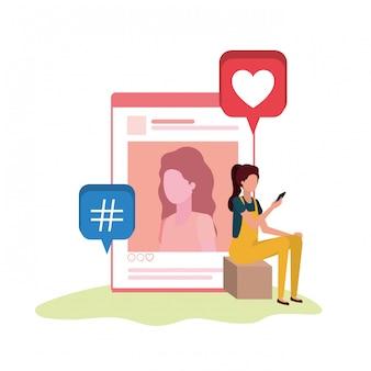 Personne assise avec personnage avatar de profil de réseau social