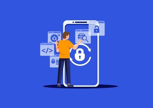 Personne au design plat avec sécurité des données de téléphone portable