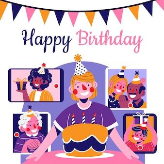 Personne célébrant son anniversaire en ligne