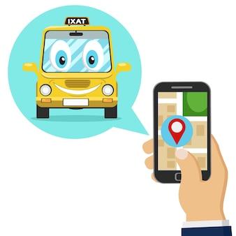 Une personne commande un taxi via une application mobile sur fond blanc.