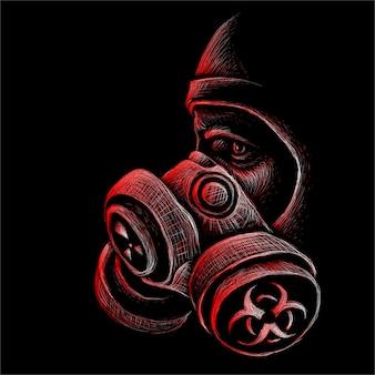 Personne dans un masque respiratoire lors d'une menace bactériologique ou chimique