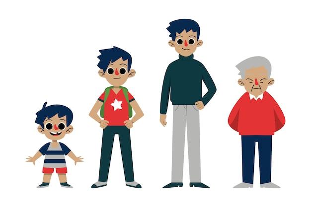 Une personne de différents âges