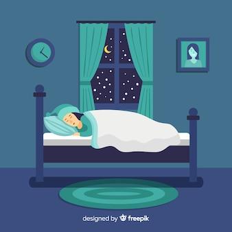 Personne, dormir, lit, fond