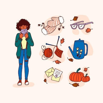 Personne et éléments d'automne dessinés à la main