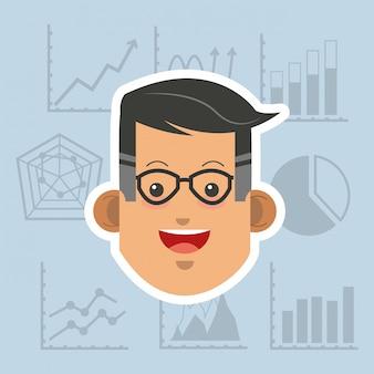 Personne en costume avec image d'entreprise icônes connexes