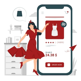Personne, fille, une femme avec illustration de concept de magasinage en ligne
