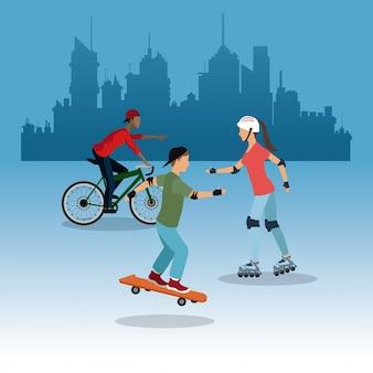 Personne sur fond de ville de patinage à roulettes de vélo