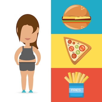 Personne graisse pour manger de la nourriture rapide