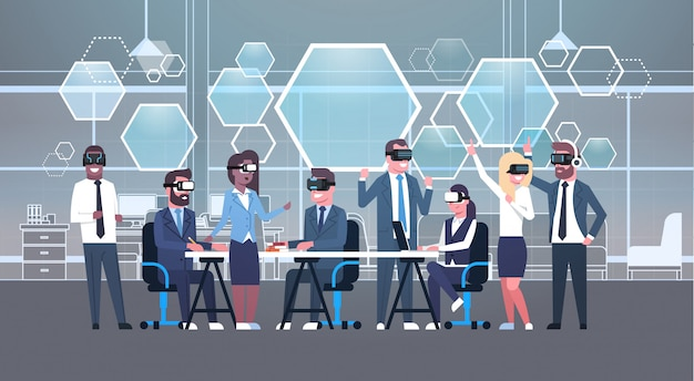 Personne groupe porter vr casque pendant brainstorming, équipe dans lunettes 3d réunion réalité virtuelle concept technologie
